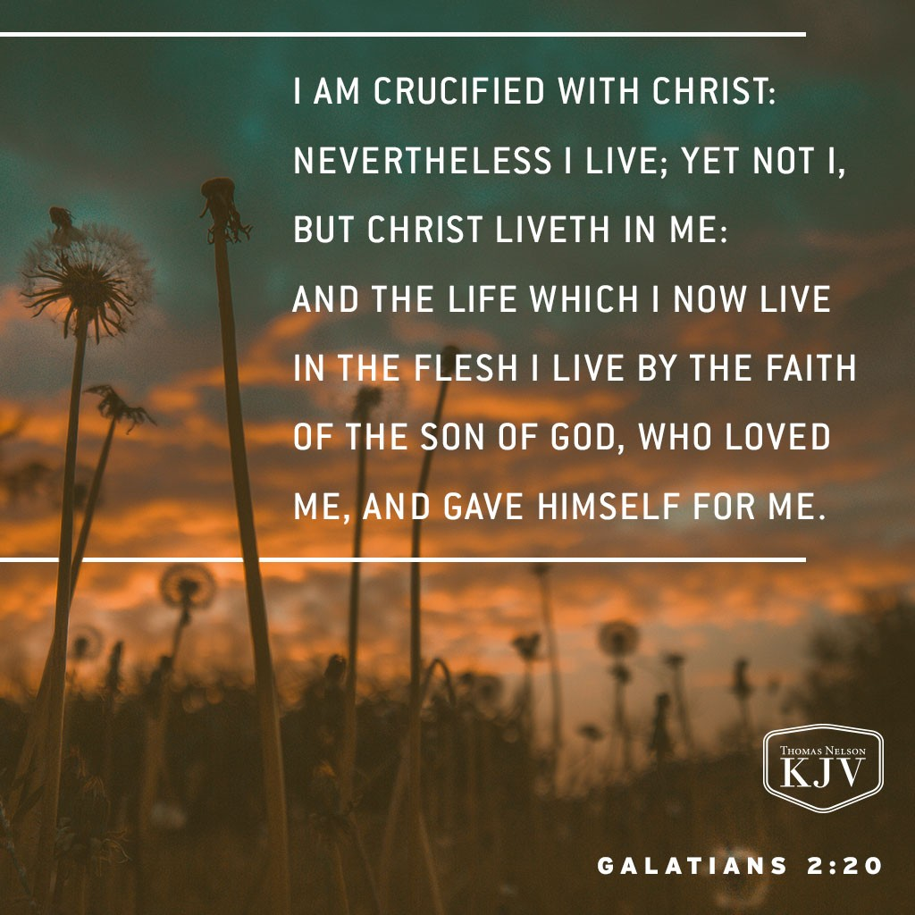20 I am crucified with Christ: nevertheless I live; yet not I, but Christ liveth in me: and the life which I now live in the flesh I live by the faith of the Son of God, who loved me, and gave himself for me. Galatians 2:20