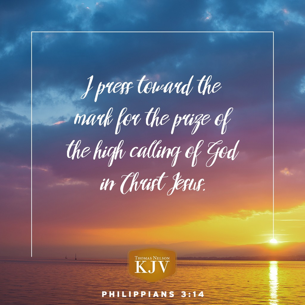 14 I press toward the mark for the prize of the high calling of God in Christ Jesus. Philippians 3:14