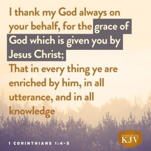 Kjv Verse Of The Day 1 Corinthians 1 4 5