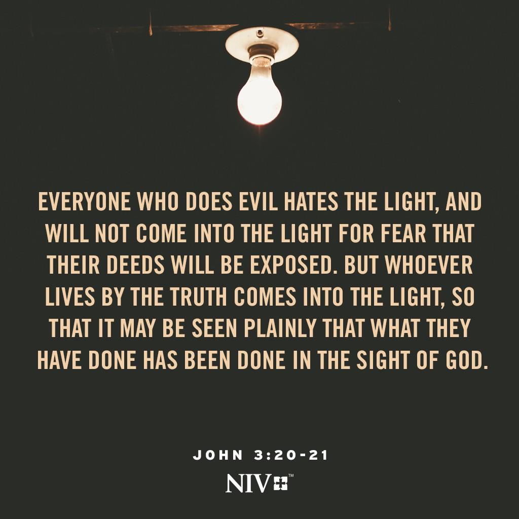 NIV Verse of the Day: John 3:20-21